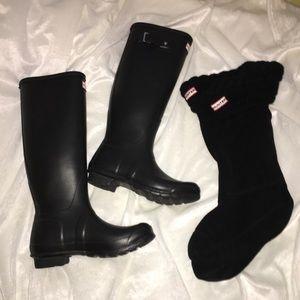 Hunter Original Tall Matte Black Boots & Socks